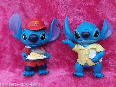 Disney Lilo & Stitch FAST FOOD WAITER ~ CASUAL LOOK 2 x 7cm Figures Cake Toppers