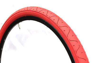 1 PAIR ( 2 TYRES ) SLICK MTB TYRES TIRES 26 x 2.10 ALL RED  LS077