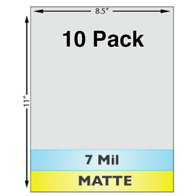 "7 Mil MATTE Full Sheet (8.5"" x 11"") Laminates - 10 Pack - Use With Teslin ID"