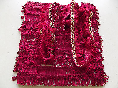 Lot Vintage French Passementerie Tassel Trimming Braid Cushions Curtains Red
