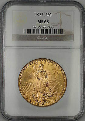 1927 $20 Dollar St. Gaudens Double Eagle Gold Coin NGC MS-63 AMT (D)