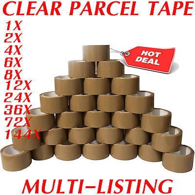 Strong Brown Parcel Packing Packaging Tape Sellotape Carton Sealing 48Mm X 66M