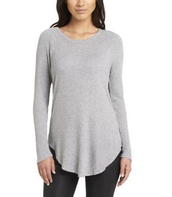 NEW Chaser Women's Long Sleeve Thermal Basket Weave Shirt Heather Grey L