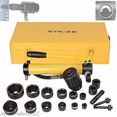 Heavy Duty Industrial Hydraulic Hole Punch Driver Conduit Wire Box Knockout Kit