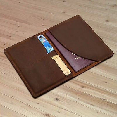 Men Genuine Leather Travel Wallet Bifold Ticket Card passport Case Holder Folder