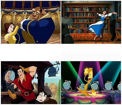 Disney Beauty and The Beast Lithograph Art Set Belle Gaston Lumiere Be Our Guest