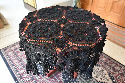 "Lim's Vintage 100% Cotton All Hand Made Crochet Tablecloth 48""x48"" Black"