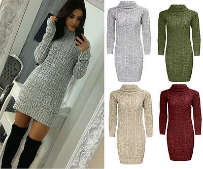 Womens Ladies Polo Roll Neck Cable Knitted Bodycon Jumper Dress Top Size UK 8-26