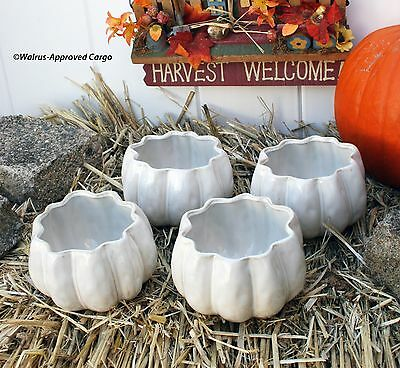 Pottery Barn Pumpkin Snack Bowls (4) -Nib- Patch Into Some Fun Table Service!