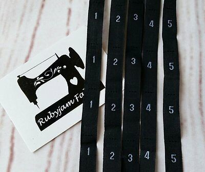 100 pack 1 2 3 4 5 size clothing labels black sew in woven tags FREEPOST from AU