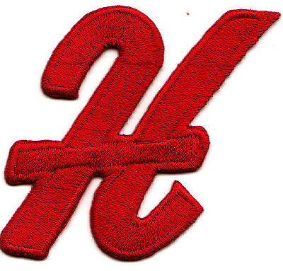 """LETTERS - Red Script  2"""" Letter """"H"""" - Iron On Embroidered Applique"""