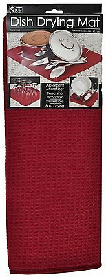 "S&T Microfiber Dish Drying Mat 16""x18"" - Racer Red"