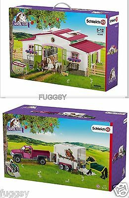 SCHLEICH Horse Club Riding Centre Stable + Pick up Truck & Horse Float 42344