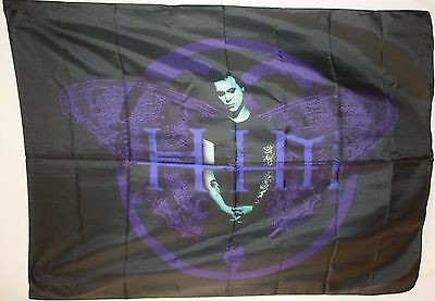 RARE HIM Ville Valo Heartagram Butterfly Cloth Fabric Poster Flag Banner-New!!!