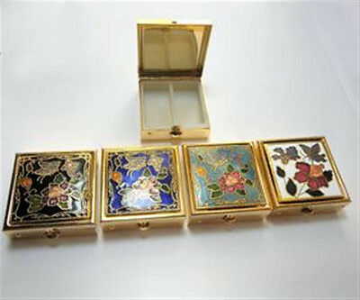 """ONE (1) Cloisonne Enamel Square Pill Box 1 1/2"""" with 2 Section Plastic Insert"""