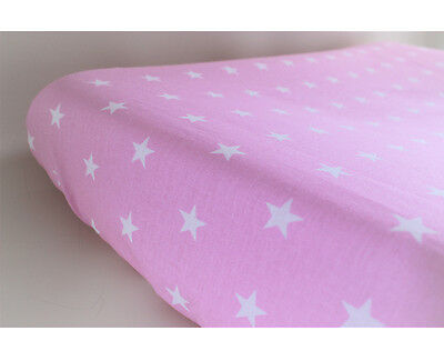 GOOSEBERRY Fitted Change Mat Pad Table Cover Cotton Pink Stars