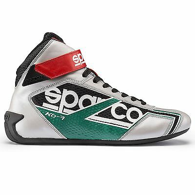 Sparco Shadow KB-7 Karting / Go Kart Boots Silver / Green / Red - UK 4 / Eur 37