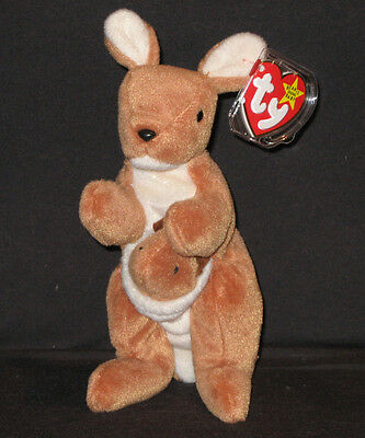 TY POUCH the KANGAROO BEANIE BABY - MINT with MINT TAGS