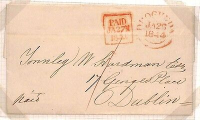 F86 1844 IRELAND *Drogheda* Co.Louth to Dublin Superb Clean Entire Letter EL