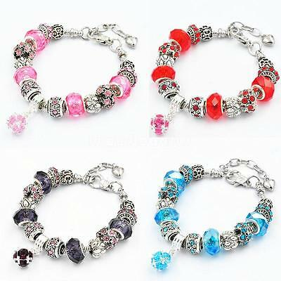 925 Silver Chain Rhinestone Crystal European Charm Beads Wrist Bracelet Bangle