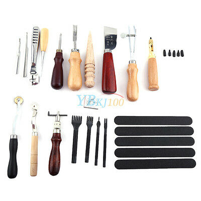 20pcs Leather Craft Punch Tools Kit Stitching Carving Working Sewing Hand Tool