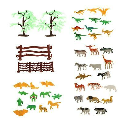 Lot 68 Farm Yard Wild Animals Fence Tree Model Toys Figures Play Set Gift