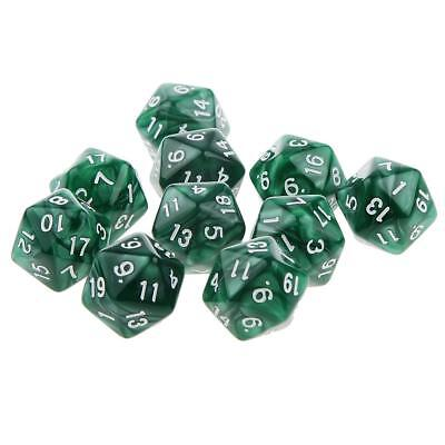 Set/10pcs Green Twenty Sided Dungeons & Dragons RPG Roleplay Game D20 Dice