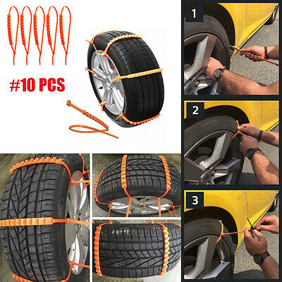 10pc Snow Wheel Tyre Tire Antiskid Chains Thickened Tendon Car Truck Slip Chains