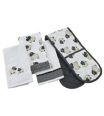4 Piece Kitchen Set SHEEP 1xDouble Oven Glove 2xTea Towels 1xTerry Towel BAKING