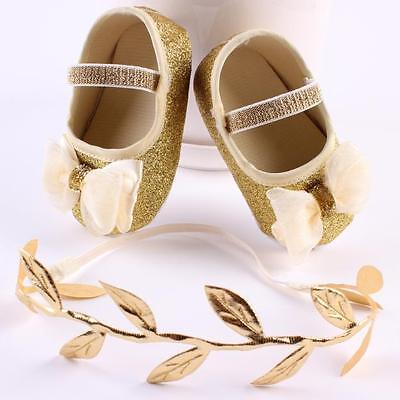 2PCS/Set Newborn Baby Girl Soft Sole Crib Shoes Glitter Sequin Sneakers+Hairband