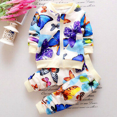 2PCS Child Baby Girl Clothes Outfits Butterfly Coat Cardigan Tops+Long Pants Set