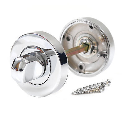 POLISHED CHROME TURN & RELEASE SET FOR BATHROOM LOCK Toilet Door Thumb Twist