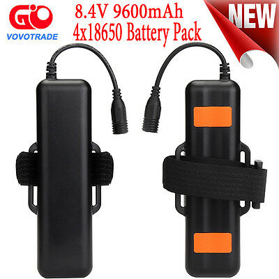 8.4V Rechargeable 9600mAh 4X18650 Battery Pack For Bicycle light Headlamp