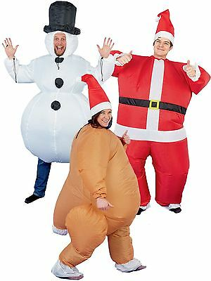 Christmas Inflatable Mens Womens Costume Snowman Santa Novelty Fancy Dress Party