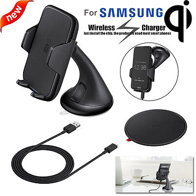 Qi Wireless Charger Charging Suction Cup Car Mount Holder for Samsung Galaxy S7