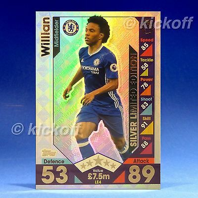Match Attax 2016-2017: WILLIAN - SILVER Limited Edition. Chelsea. NEW. 16-17