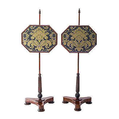 Fine Antique Pair of Regency Rosewood Pole Screens, c. 1830
