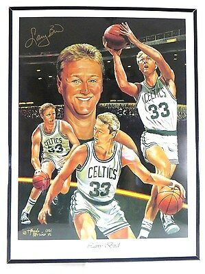 "1993 Autographed Print of Larry Bird-Orginal Artwork by  Angelo Marino-24"" x 18"""