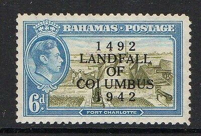 BAHAMAS 1942 6d WITH 'COIUMBUS' FLAW SG 169a MINT.
