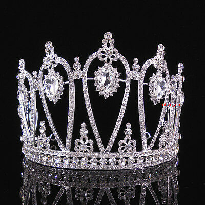 11cm High Adult Large Full Crystal Wedding Bridal Party Pageant Prom Tiara Crown