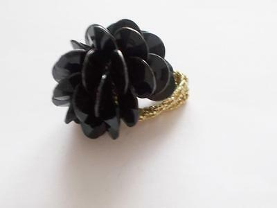 Vintage Black Lucite Beaded Cluster Gold Tone Stretch Cocktail / Statement Ring