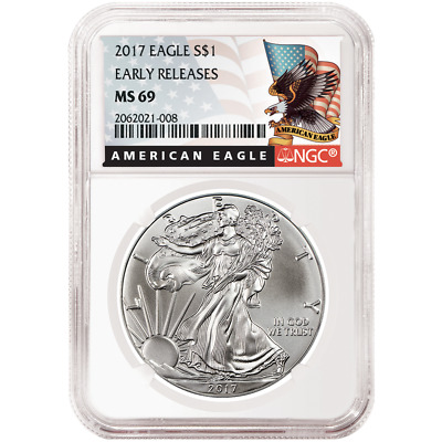 2017 $1 American Silver Eagle NGC MS69 Early Releases Black ER Label
