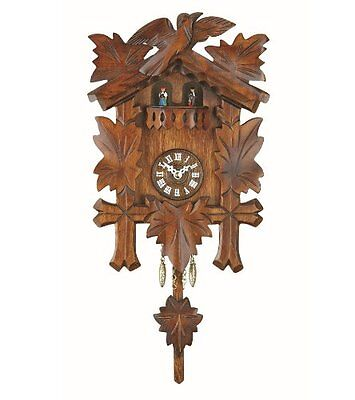 Cuckoo Wall Clock Antique Black Forest Quartz Pendulum Night Shut Off Walnut