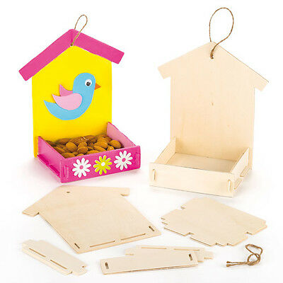 Wooden Bird Feeder Kits for Children to Paint Decorate and Hang (Pack of 3)