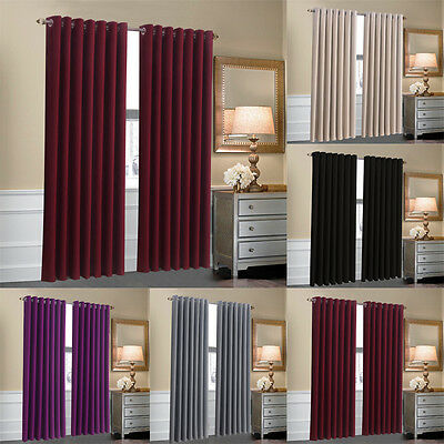 Thermal Ring Top Eyelet Blackout Curtains Pair Ready Made Fully Lined Tie Backs