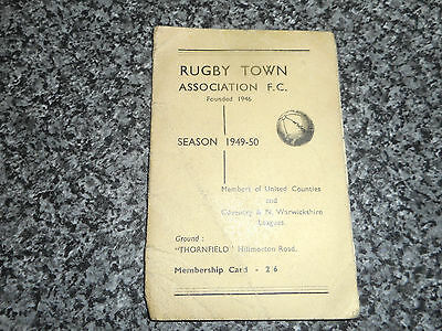 Rugby Town : Membership Card / Fixture List 1949/50 *****free Post*****