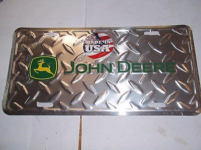 Brand New John Deere Chrome Diamond Plate License Plate