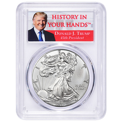 2017 $1 American Silver Eagle PCGS MS70 Donald Trump First Strike Label