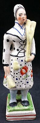 Staffordshire Pottery figure of Actress Mme E. Vestris as a Broom Seller, c 1825