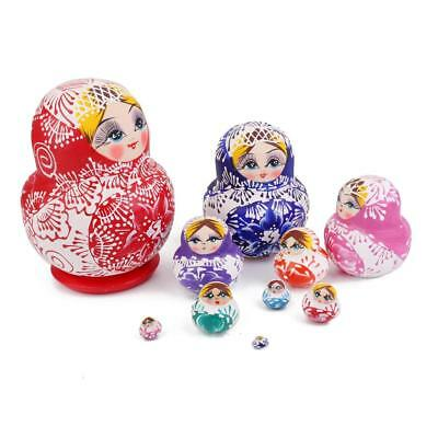 10pcs Wooden Russian Babushka Matryoshka Nesting Dolls Hand Painted Colorful